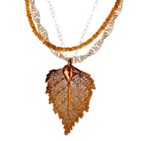 Sterling Silver, Citrine and Leaf Pendant Necklace