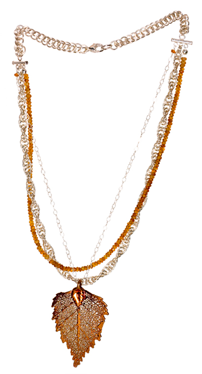 Sterling Silver, Citrine and Leaf Pendant Necklace - Elena Adams Designs