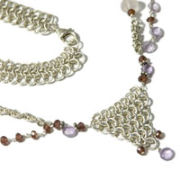 Sterling Silver Chain Maille and Gemstone Necklace