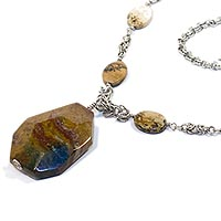 Sterling Silver Byzantine Necklace with Picture and Ocean Jasper.