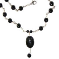 Sterling Silver, Black Onyx and Scarab Necklace