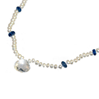 Freshwater Pearl and Kyanite Knotted Necklace