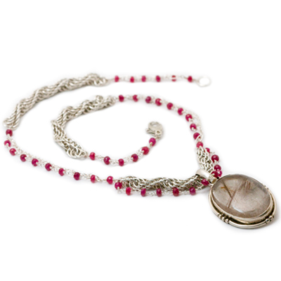 Sterling Silver Rope Necklace with Ruby and Rutilated Quartz
