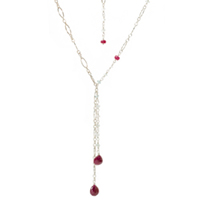 Sterling Silver Ruby and Aquamarine Necklace