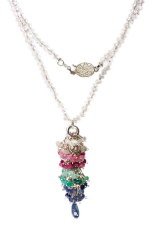 Multi-Colored Sapphire and Sterling Silver Knotted Necklace