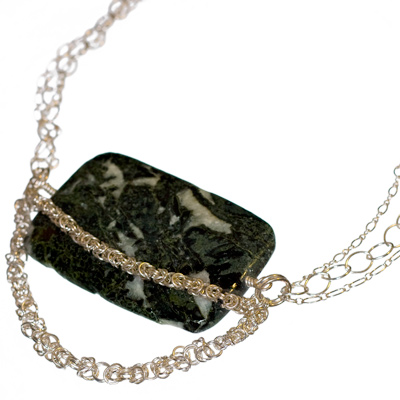 Huge Serpentine Pendant with Sterling Silver Byzantine Chain Maille - Elena Adams Designs :  gemstone jewelry chainmail jewelry chain maille silver jewelry
