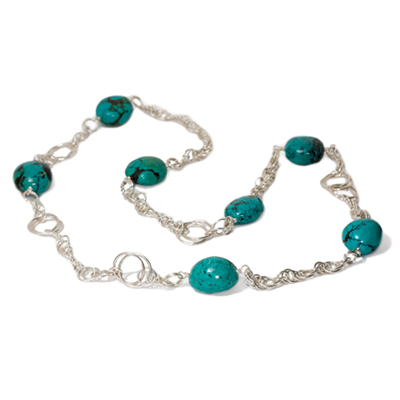 Sterling Silver Turquoise Chain Necklace :  gemstone jewelry chainmail jewelry chain maille silver jewelry